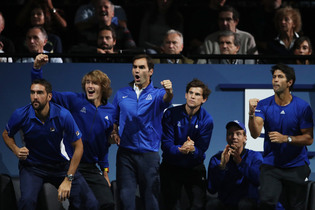Roger Federer And His Teammates Cheer On Rafael Nadal At 2017 Laver Cup 2 Rafael Nadal Fans